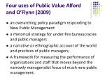 four uses of public value alford and o flynn 2009