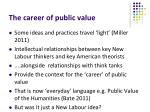 the career of public value