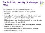 the limits of creativity schlesinger 2010