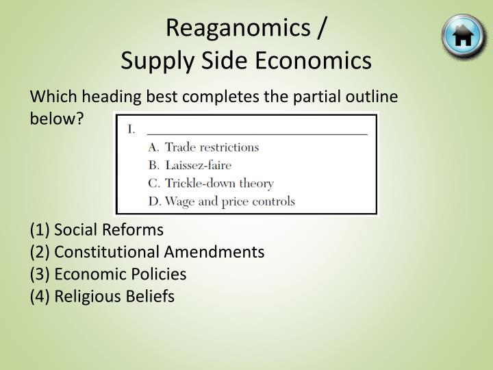 what were the characteristics of reaganomics economics essay The reagan revolution begins following his overwhelming victory reagan and his political allies began an effort to reverse the political legacy of the new deal and great society.