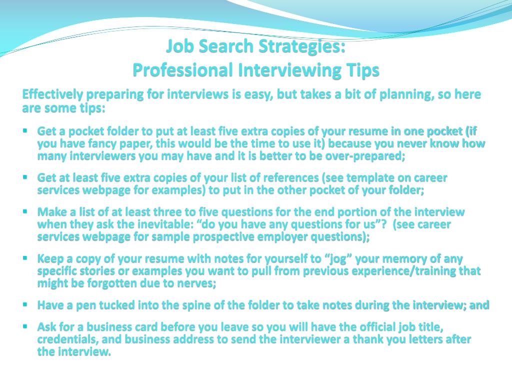 PPT - Job Search Strategies PowerPoint Presentation - ID:1652361