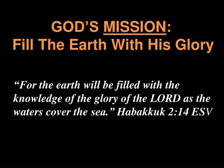 god s mission fill the earth with his glory n.
