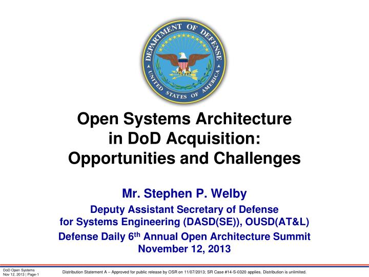open systems architecture in dod acquisition opportunities and challenges n.