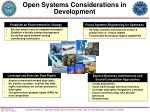 open systems considerations in development