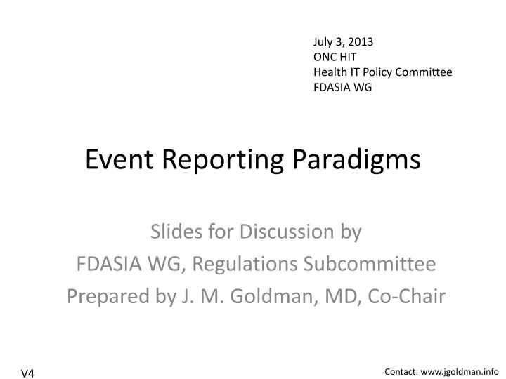 event reporting paradigms n.