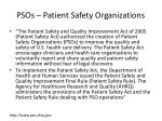 psos patient safety organizations