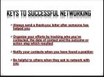 keys to successful networking