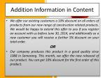 addition information in content
