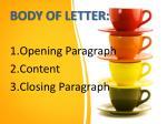 body of letter