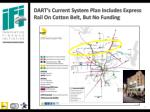 dart s current system plan includes express rail on cotton belt but no funding