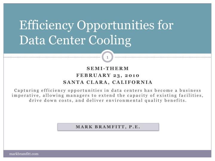 efficiency opportunities for data center cooling n.