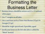 formatting the business letter