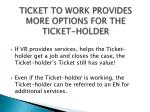 ticket to work provides more options for the ticket holder