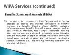 wipa services continued