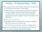 friday 10 september 1943