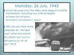 monday 26 july 1943