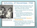 saturday 27 november 1943