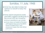 sunday 11 july 1943