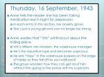 thursday 16 september 1943