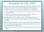 thursday 29 july 1943