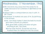wednesday 17 november 1943
