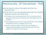 wednesday 29 december 1943