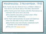 wednesday 3 november 1943