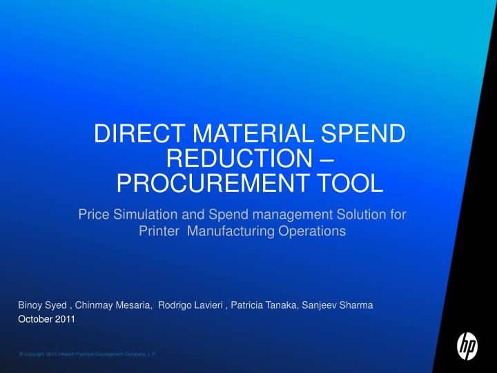 direct material spend reduction procurement tool n.