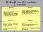 city growth spurs transportation advances