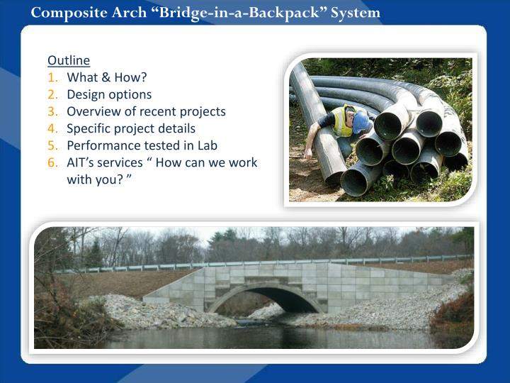 composite arch bridge in a backpack system n.