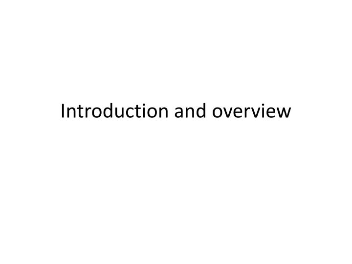 introduction and overview n.
