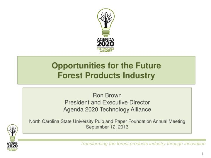 opportunities for the future forest products industry n.