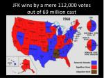 jfk wins by a mere 112 000 votes out of 69 million cast