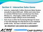 section v interactive sales game