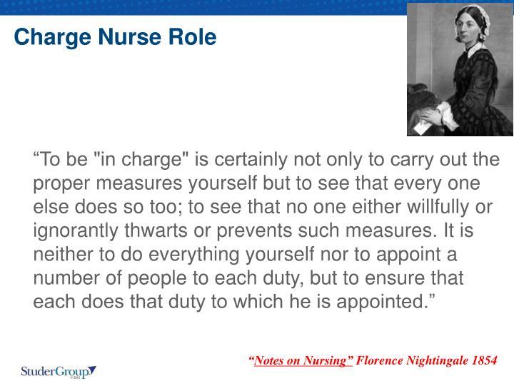 Charge Nurse Role