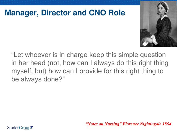 Manager, Director and CNO Role