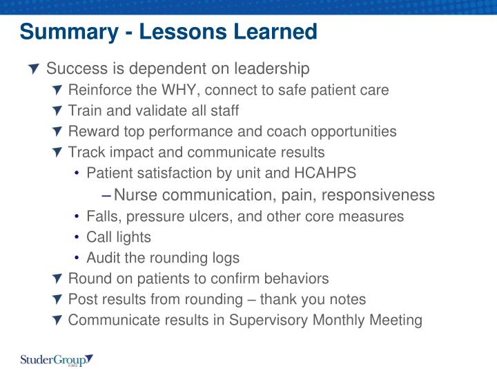 Summary - Lessons Learned