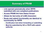 summary of pram