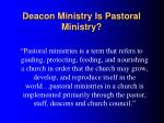 deacon ministry is pastoral ministry