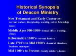 historical synopsis of deacon ministry