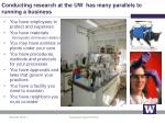 conducting research at the uw has many parallels to running a business