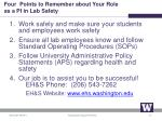 four points to remember about your role as a pi in l ab s afety