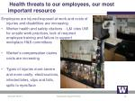 health threats to our employees our most important resource