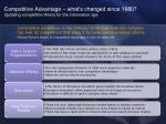 competitive advantage what s changed since 1980 updating competition theory for the information age
