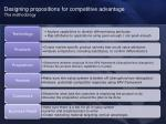 designing propositions for competitive advantage the methodology