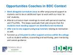 opportunities coaches in bdc context