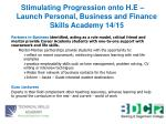 stimulating progression onto h e launch personal business and finance skills academy 14 15