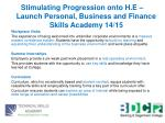 stimulating progression onto h e launch personal business and finance skills academy 14 151