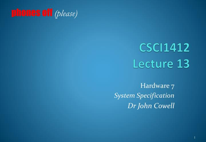 csci1412 lecture 13 n.