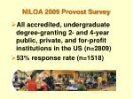 niloa 2009 provost survey